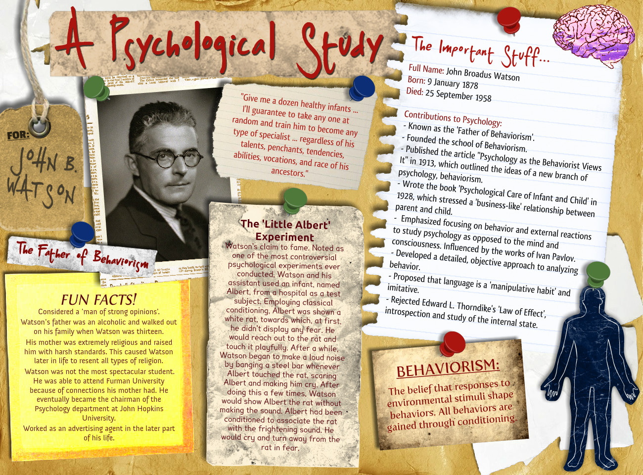 perspectives of john b watson b f John b watson and b f skinner were the principal contributors to the behavioral perspective true or false.