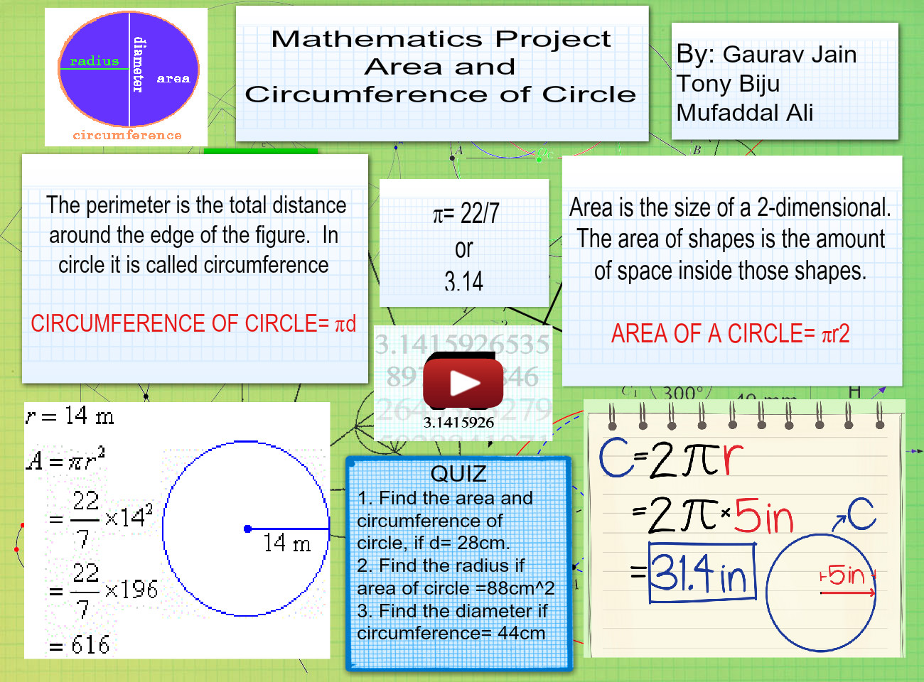 Maths area and cicumference of circle