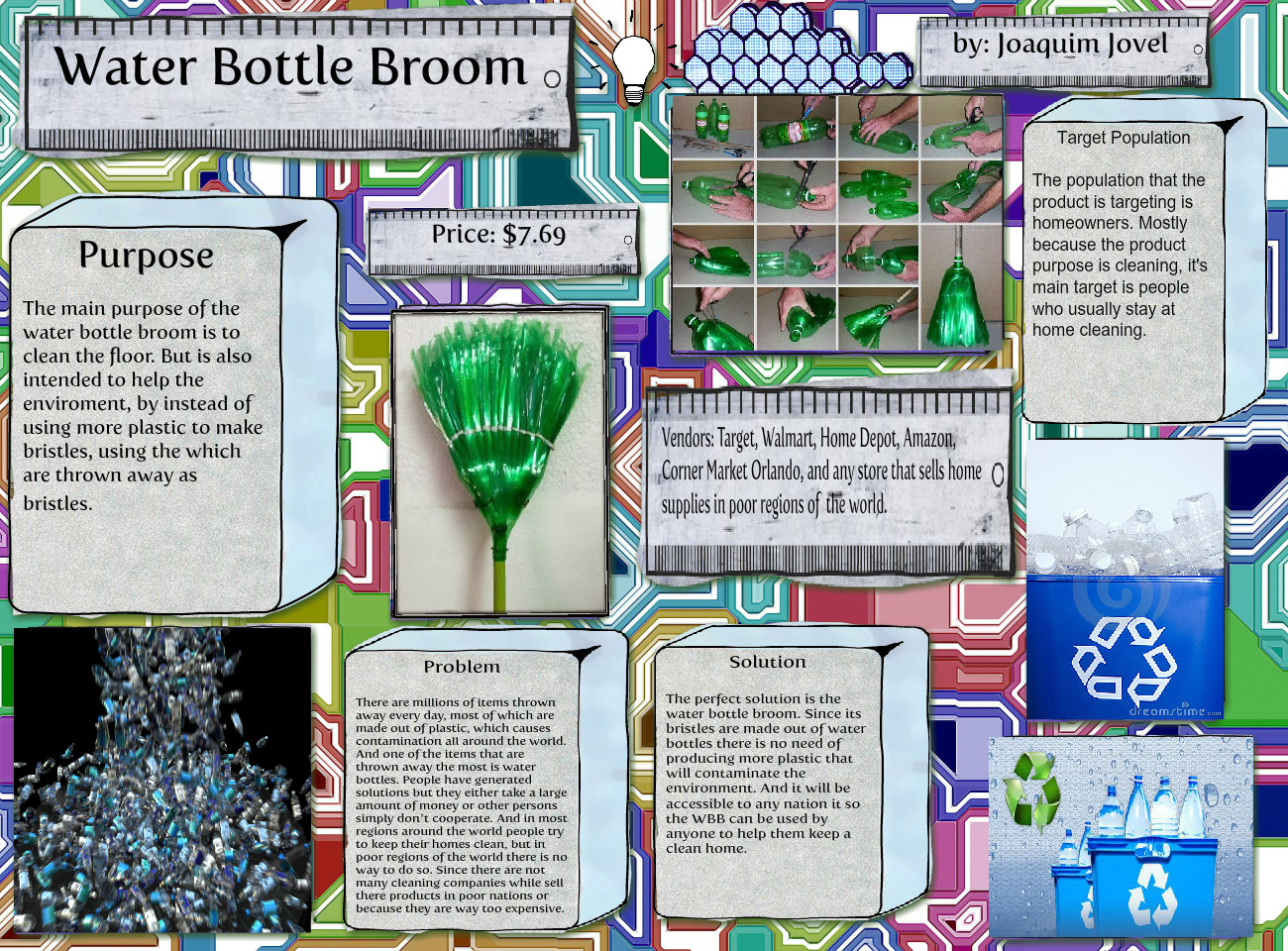 Water bottle broom