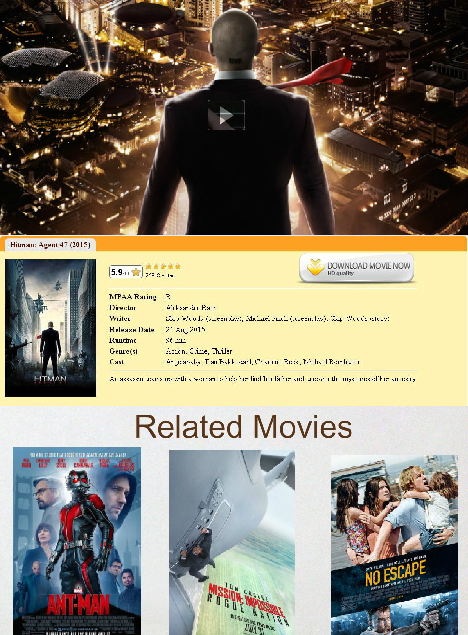 Hitman Agent 47 Movie Download Or Watch Online Text Images